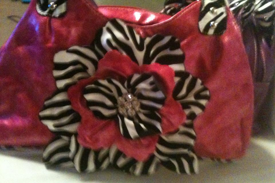 Free shipping NEW Hot Pink flower purse Large Photo