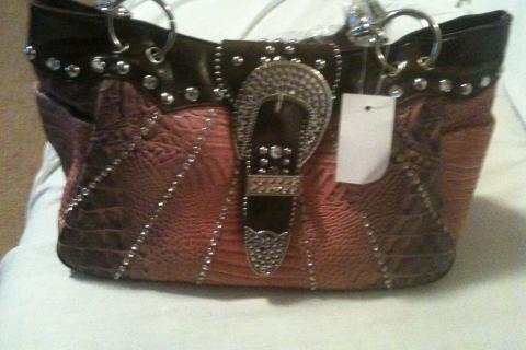 Free ship NEW brown purse w/ rhinestones Photo