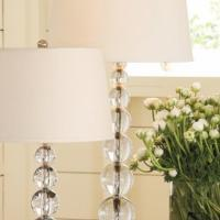 Pottery Barn Stacked Crystal Table Lamp - New Photo