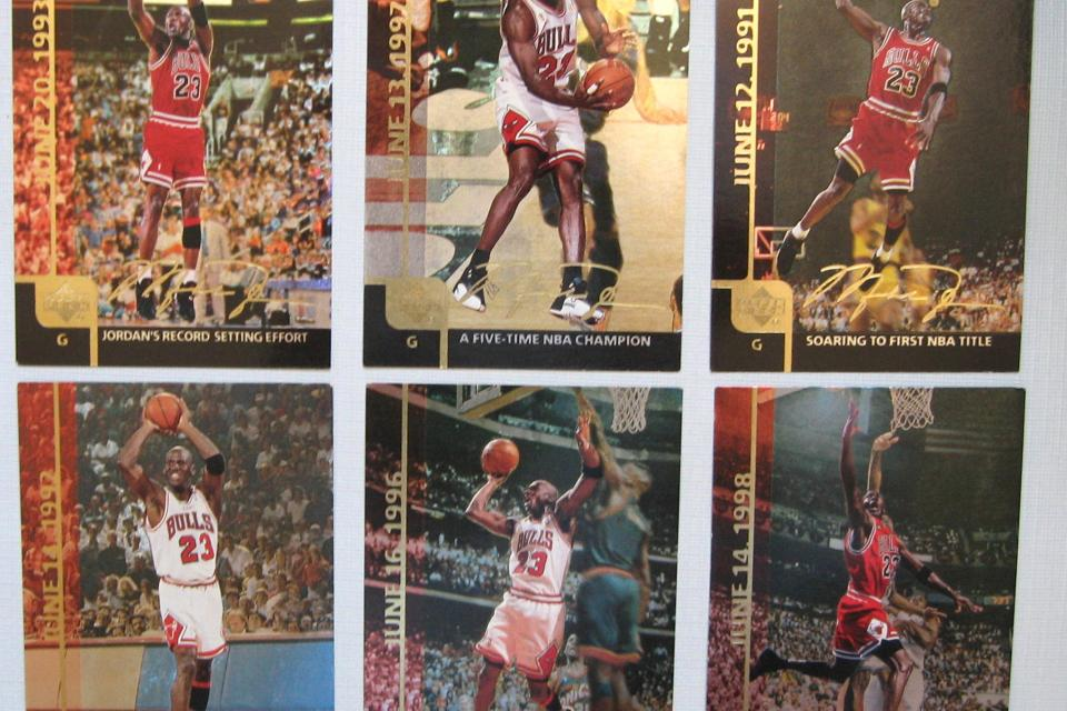 Michael Jordan Gatorade Set---6 Cards and lot of 43 from 1990's Chicago Bulls Large Photo