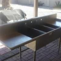3 bay commercial stainless steel sink Photo