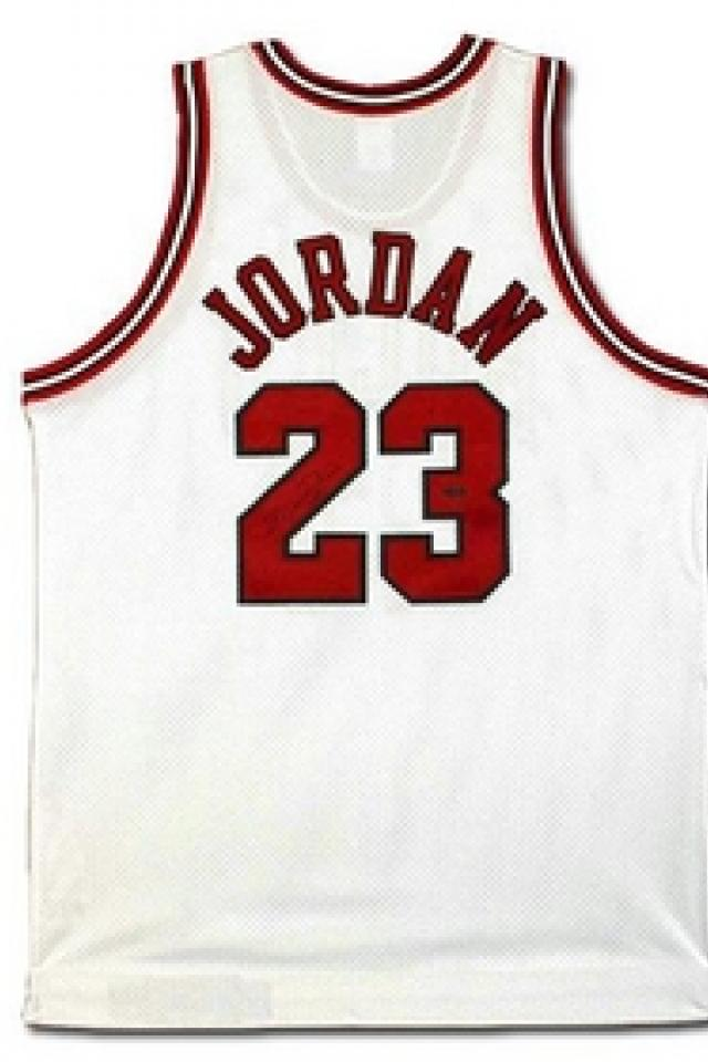 Michael Jordan Autographed Chicago Bulls Home/White Jersey (UDA) Photo