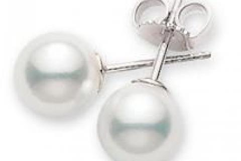 Mikimoto Pearl Earrings in White Gold Photo