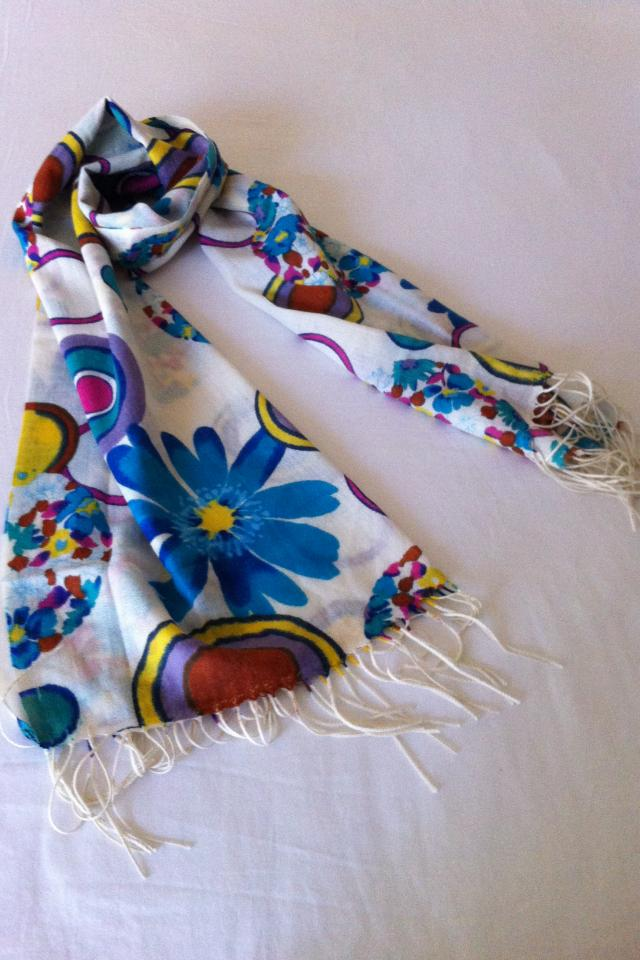 Pashmina Cashmere Multicolor Carefree Flowers Tassels Ends Long Scarf Shawl Large Photo