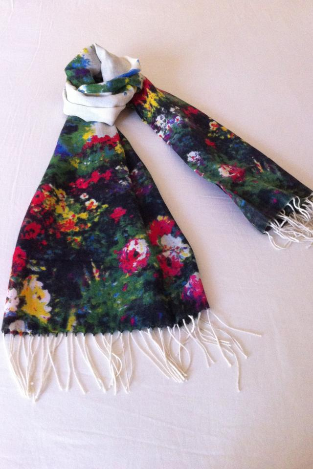 Floral Garden Pashmina Cashmere Tassel Ends Long Scarf Shawl  Large Photo