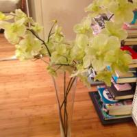 Z gallerie translucent/ clear glass floor vase with yellow flowers Photo