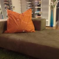 West Elm Baxter Right Arm Chaise in Faux Suede, Saddle Herringbone Photo