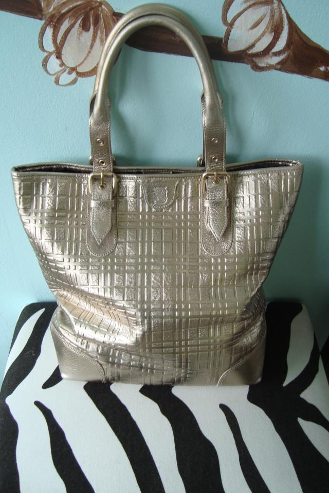Large Burberry Gold Tote Handbag Photo