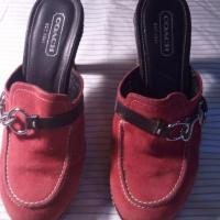 CLEO RED SUEDE LEATHER HEELS SHOES BY COACH EUC Photo