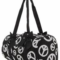 Free Shipping QUILTED POLKA DOTS PEACE PRINT MEDIUM DUFFLE BAG Photo