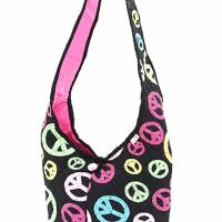 Free Shipping QUILTED PEACE SIGN HOBO STYLE CROSS BODY BAG Photo