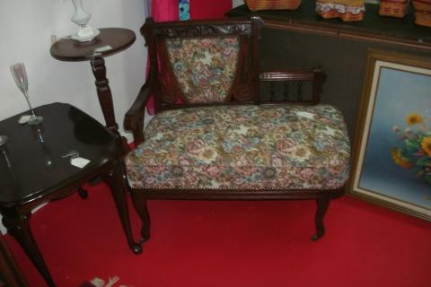 Antique Solid Mahogany Gossip Bench Photo