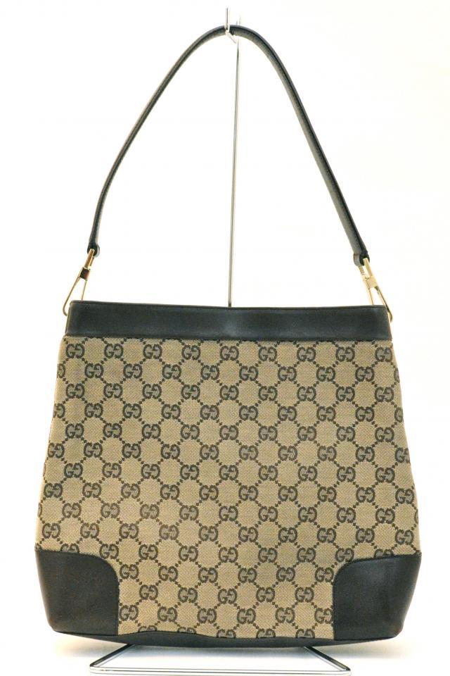 Gucci Brown Monogram Leather Handbag Photo