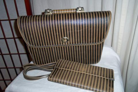 Vintage Retro Striped Handbag Purse Photo
