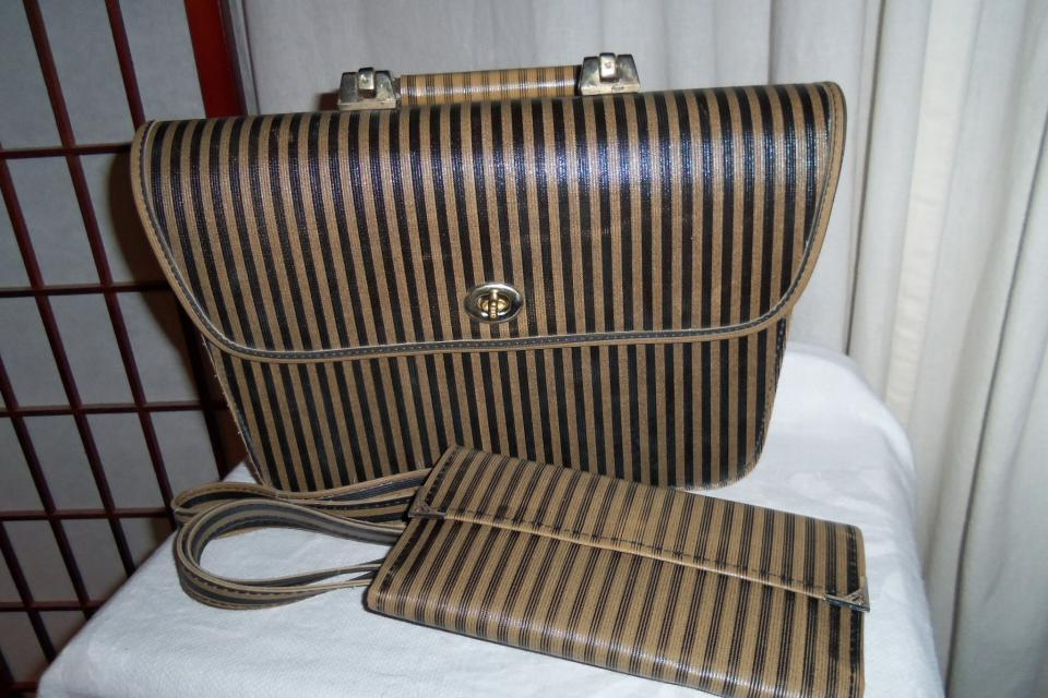 Vintage Retro Striped Handbag Purse Large Photo