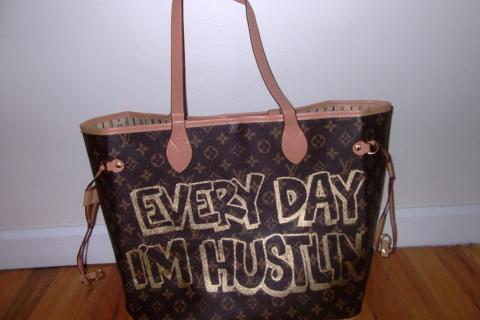 Every Day I'm Hustlin' Spray Painted Louis Vuitton Inspired Bag Photo