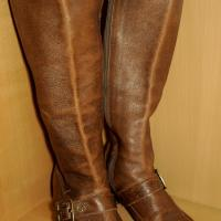 VINTAGE-EQUESTRIAN BROWN LEATHER RIDING BOOTS MADE IN BRAZIL BY K.F. - SIZE 8.5M Photo