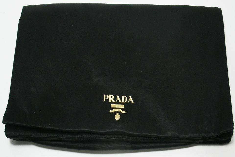 PRADA Black Silk Envelope Clutch Purse Large Photo