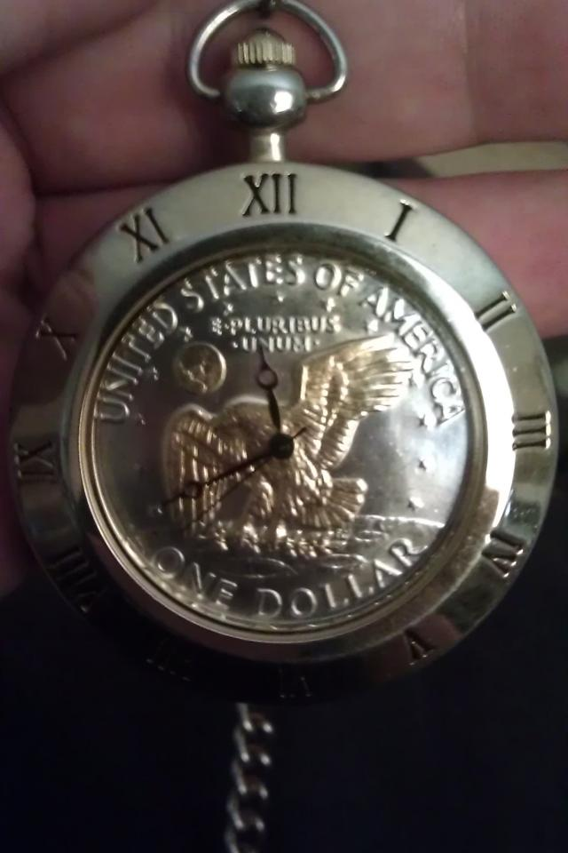 RARE LARGE/SOLID U.S. SILVER DOLLAR POCKET WATCH w/GOLD EAGLE, Includes Original Chain!!! Photo