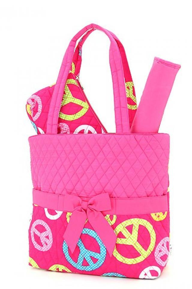 FREE SHIPPING: QUILTED PEACE SIGN PATTERN 3PC DIAPER BAG Photo