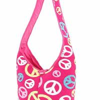 FREE SHIPPING: QUILTED PEACE SIGN HOBO STYLE CROSS BODY BAG Photo