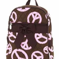 FREE SHIPPING: QUILTED POLKA DOTS PEACE PRINT MEDIUM ZIPPERED BACKPACK Photo