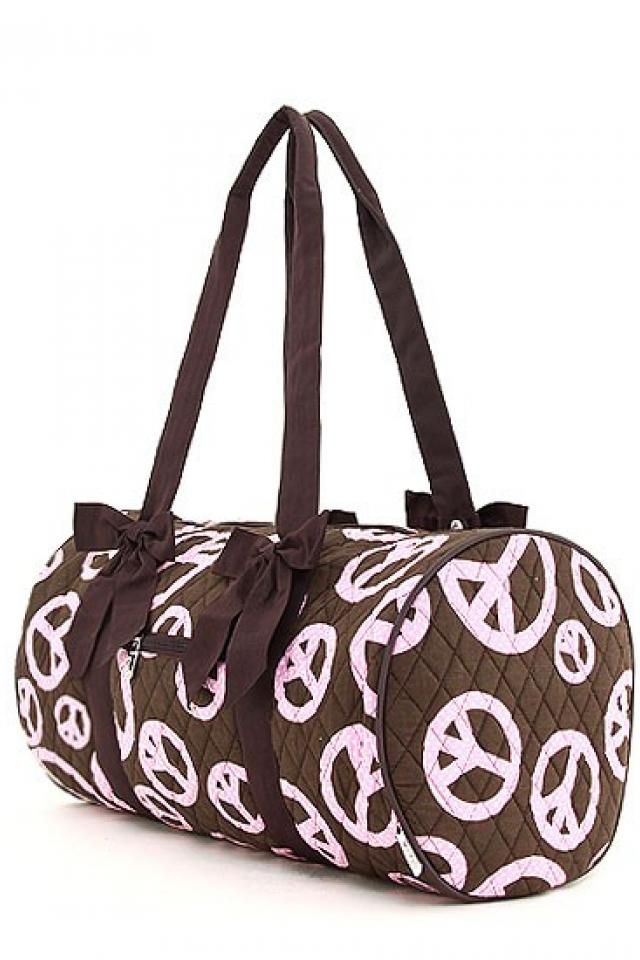 FREE SHIPPING :QUILTED POLKA DOTS PEACE PRINT MEDIUM DUFFLE BAG  Photo