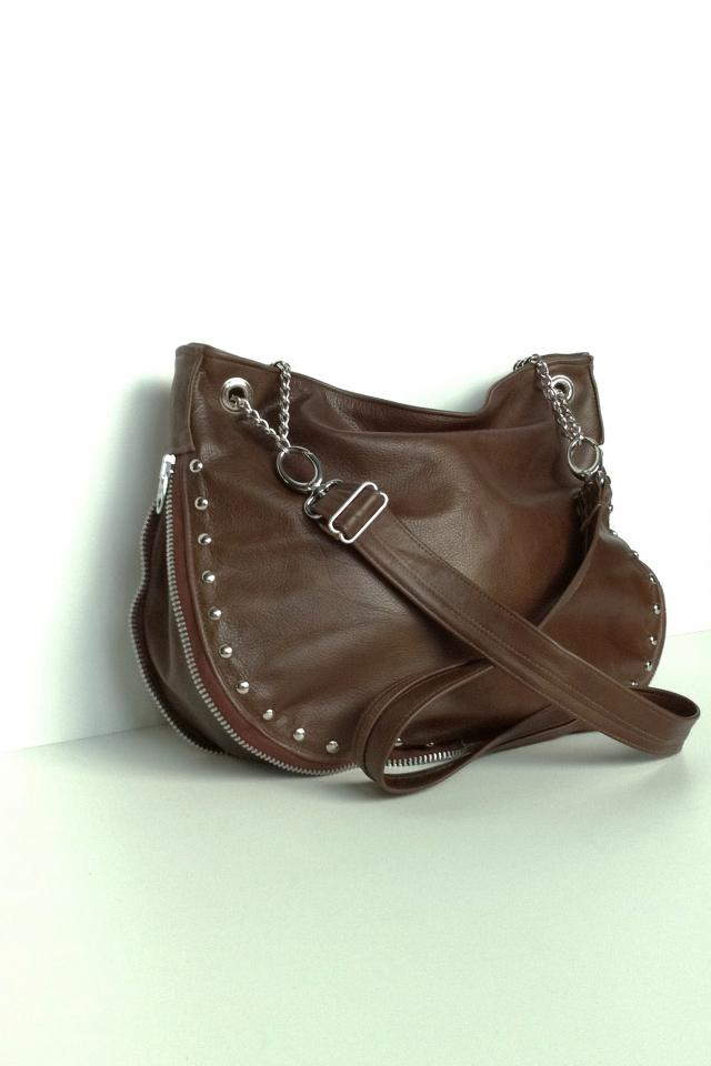 Brown Leather Studded Zip Hobo Bag Photo