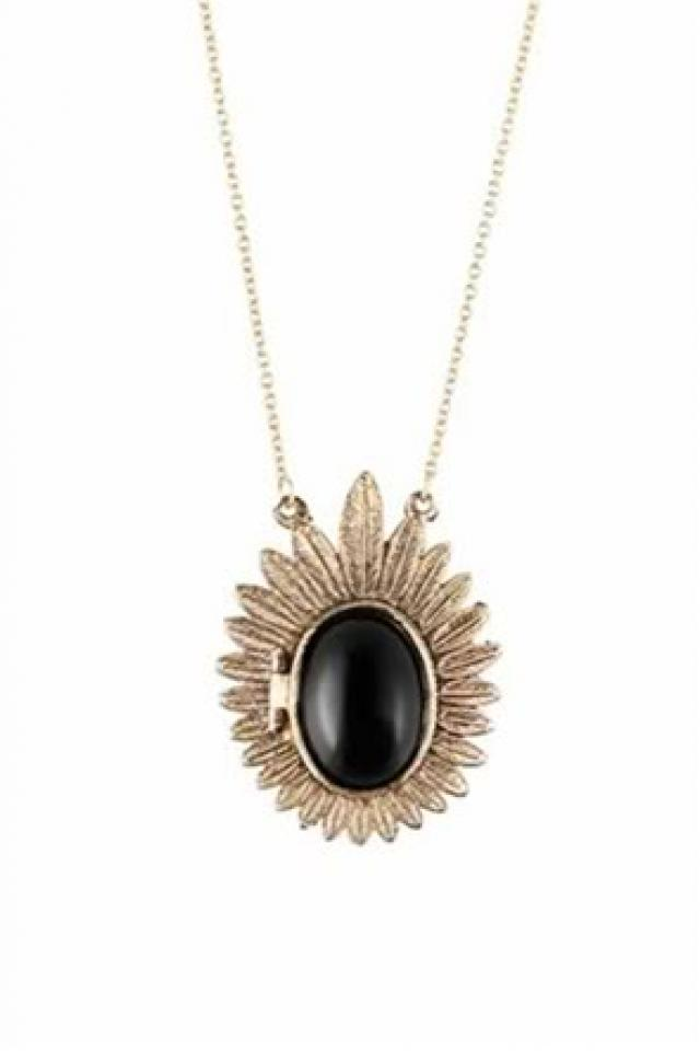 House of Harlow Inspired 1960 feather cabochon black locket necklace boho chic Photo