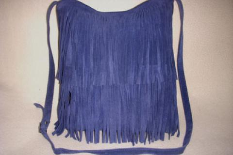 Gorgeous vintage Italian blue suede leather tote bag, hobo with fringes. Nardelli, Italy Photo