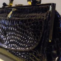 Fabulous vintage Italian RARE crocodile leather bag, croco handbag, Cesare Puccini, Italy dark chocolate brown Photo