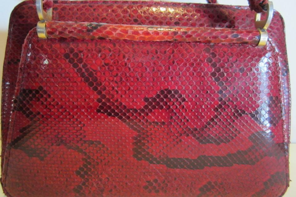 Fabulous vintage python snake skin leather bag, lovely model Large Photo