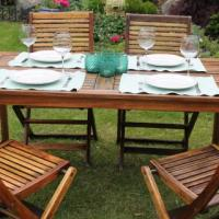 Outdoor Teak Dinning Table and Chairs Photo
