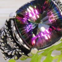 Free Shipping MYSTICAL RAINBOW TOPAZ SILVER RING SIZE 7.5 Spectacular Photo