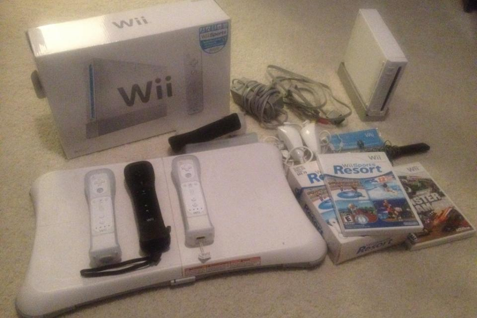 Nintendo Wii console, Monster Jam, Sports Resort, Wii Fit balance board Large Photo