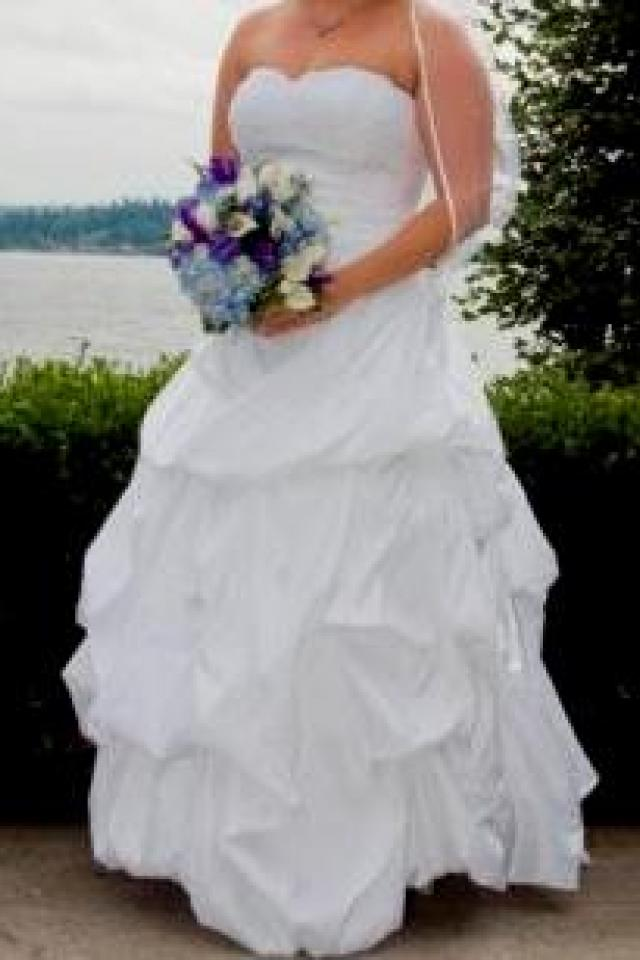 Wedding Gown - White Taffeta Ball Gown with Pick-Up Skirt Photo