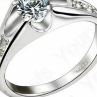 Free Shipping 18K White Gold Plated  Swarovski Crystal  Ring Sz8 Photo