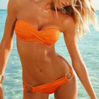 Vibrant Orange Bikini Photo