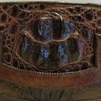 Lovely vintage chestnut brown crocodile leather evening bag, clutch Photo