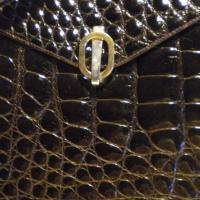 Fabulous vintage crocodile leather bag, croco handbag, shoulder bag Photo