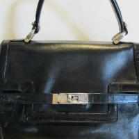 Gorgeous vintage French leather handbag. Kelly model, by Ted Lapidus, famous fashion designer from the seventies and eighties Photo