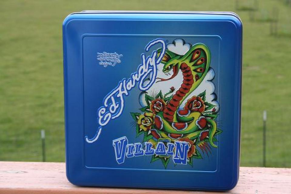 Ed Hardy Villian Men's Blue Collector Tin Only Large Photo