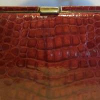 Fabulous vintage red alligator leather bag, croco evening bag, crocodile Photo