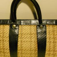 Lovely vintage Italian straw shopper with dark blue leather borders and straps Photo