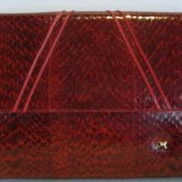 Fabulous vintage python snake skin leather clutch, with red leather sides Photo
