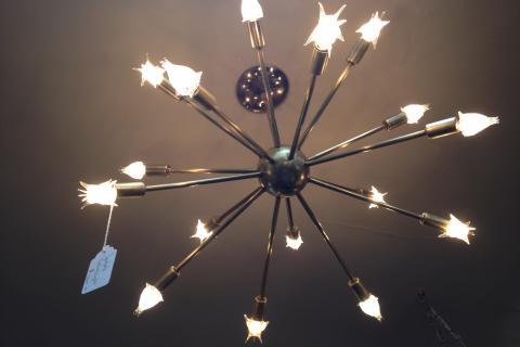 Mid Century Brush Brass Sputnik Ceiling Light Photo