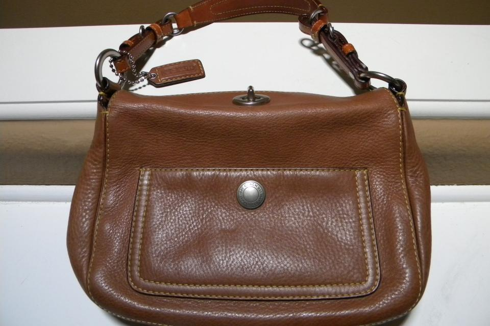 Coach Brown Pebbled Leather Bag  Large Photo