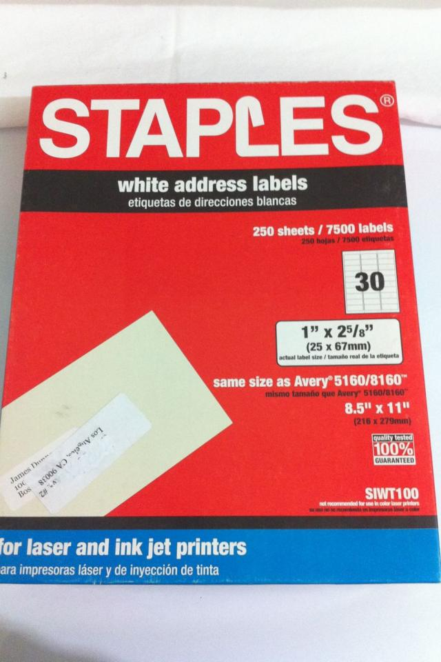 7500 individual Avery white address labels 5160 or 8160  Photo