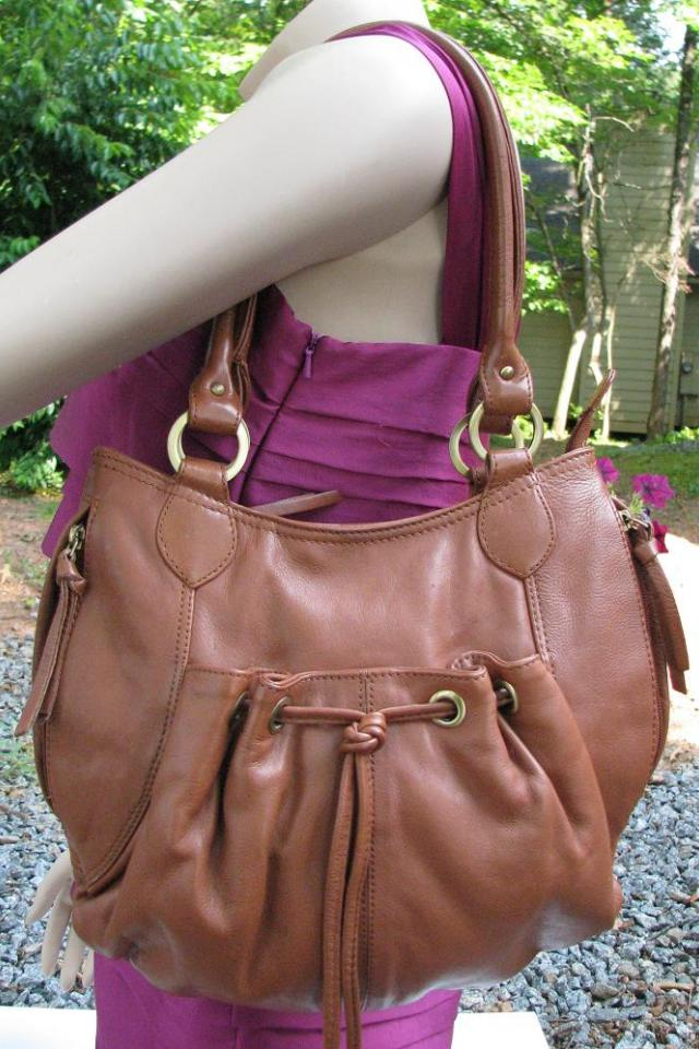 ♥♥♥MICHAEL ROME♥♥♥ Caramel Brown Leather Shoulder Bag, MADE IN ITALY!! Large Photo