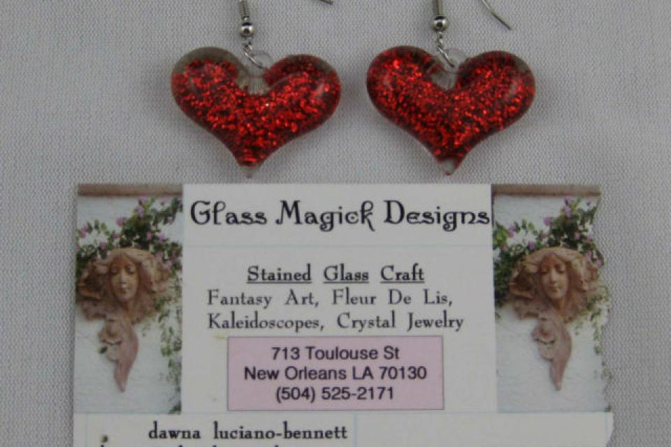 Heart Shaped Glass Fashion Dangle Silver Toned Hook Earrings Large Photo